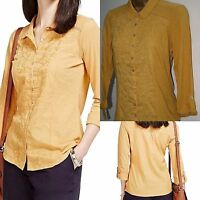 Ex M&S Per Una  Cotton Embroidered Long Sleeve Shirt MUSTARD Size 6 - 20
