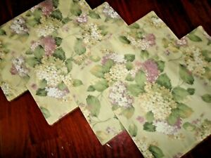 MARTHA STEWART FLORAL TOWN & COUNTRY HYDRANGEA GREEN FLORAL (4) PLACEMATS 18X12