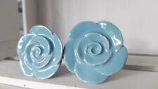 2 x Möbelknopf Vintage Möbelknauf Knauf Porzellan Blütenform blau Rose Blume