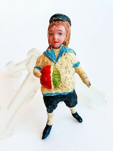 1955 Vintage USSR Russian Hand Made Paper Mache Christmas Doll Toy Boy
