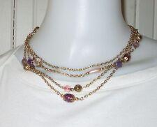 1928 signed PURPLE BEAD gold tone chain multi strand necklace EUC