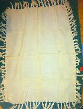 "Vintage Mid Century Baby Blanket Off White wPink & Blue trim 28 x 40 + 3"" fringe"