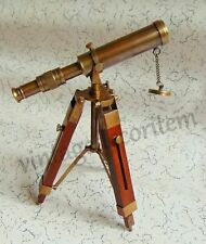 Nautical Vintage Decorative Solid Brass Telescope Antique with wooden stand