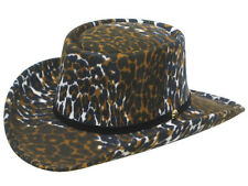 Leopard Print Felt COWBOY GAMBLER HAT - Leather Band - Adult L - 7 1/4 to 7 3/8
