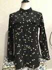 Equipment+Femme+Silk+Button+Down+Shirt+Size+Medium+Black+White+Star