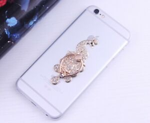 360 Rotating Cell Phone Finger Ring Stand Holder Crystal PEACOCK Long White