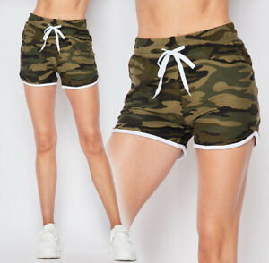 Camo Print Soft Dolphin Shorts Side Pockets Drawstring Casual Short Gym Lounge