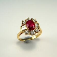 VIVID RED Natural Ruby Diamond 14K Yellow Gold Ring Engagement Cluster Wedding
