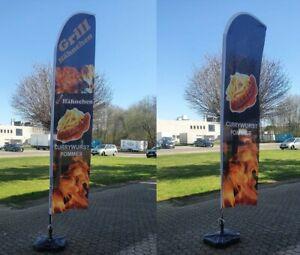 Beachflag Currywurst Pommes 3,5m,  Grill Hähnchen Werbung Fahne Kundenstopper