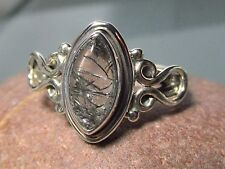 Sterling silver everyday tourmalated/tourmalinated quartz ring UK L-L¼/US 6