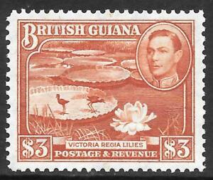 BRITISH GUIANA 1946 $3 bright red-brown, FM hinged. SG 219a. Cat.£60.
