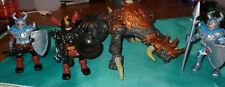 mega block red orange dragons metal ages with 3 knights weapons armor