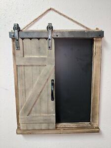 Farmhouse Wooden Chalkboard Barn Door Brown