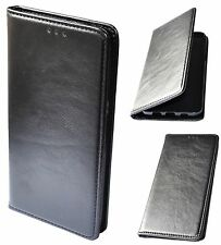 Housse Coque Étui à clapet en cuir véritable Noir pour Apple iPhone 6 iPhone 6S