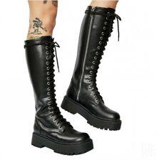 Rock Women Runway Biker Boots Lace Up Mid Calf Combat Military Chunky Heel Shoes