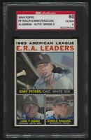 1964 Topps E.R.A. Leaders PETERS * PIZARRO * PASCUAL Signed Card #2 AUTO 9 SGC 6