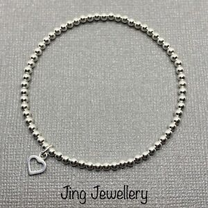 Sterling Silver Stretch Beaded Bracelet With Heart Charm. Handmade Stacking 925