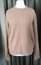 Polo by Ralph Lauren 100% Cashmere Cable Knit Tan Jumper - L UK18-20