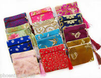 wholesale 10 pcs SILK WALLET Zipper Coin Purse Pouch Bag Case Brocade Fabric bag
