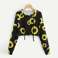 Womens Casual Sunflower Print Hooded Sweatshirt Long Sleeve Blouse Tops Pullover