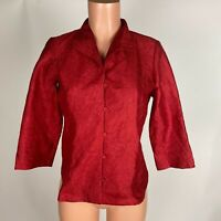 EILEEN FISHER Crushed Silk Dupioni Red Silk Mandarin Shirt Jacket Size XS NEW