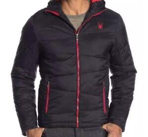 Authentic Spyder Mens Thermaweb Ski Coat Hooded Medium Black & Red MSRP $199 NWT