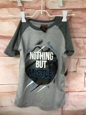 Boys Athletic T-Shirt Nothing But Hustle Gray Basketball Size 4/S Xs Nwt