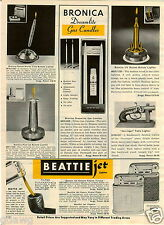 1965 PAPER AD Lighter Bronica Beattie Ronson Comet Rocket World Time Gas Candle