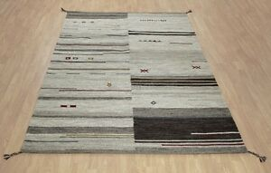 Natural Brown Beige Ethnic Tribal Handwoven 100% Wool Kilim Durrie Area Rugs