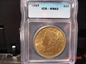 1897 $20 Double Eagle ICG MS63  Extremely Nice for Grade