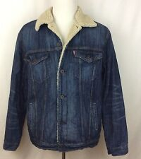 Levis Denim Jean Jacket Sherpa Lined Men's XL Distressed Sleeves Trucker Cowboy
