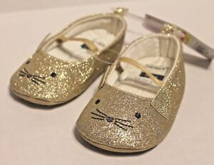Carter's Gold Glitter Kitty Cat Shoes Infant Baby Girl 6-9 Months Size 3 NEW