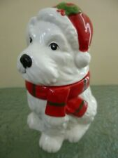 More details for christmas cookie jar ceramic pottery white scottie westie west highland terrier