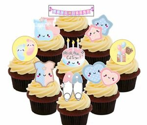 Baby Gender Reveal Pack 36 Edible Cup Cake Toppers Standup Fairy Bun Decorations