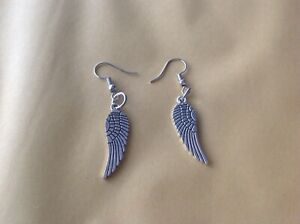 Fabulous Silver Tone Feathered Angel Wing Earrings