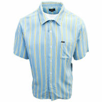 OBEY Men's Turquoise & Green Vertical Striped S/S Shirt (Retail $59.99) S11