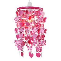 Girls Bedroom  Nursery Pink  Red Hearts  Butterflies Ceiling Light Lampshade
