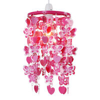 Girls Bedroom  Nursery Pink  Red Hearts  Butterflies Ceiling Light Lampshade