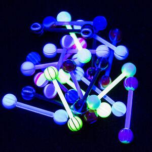 Pack of 20 Tongue Nipple Bioflex Piercing Barbells 14G UV Glow - No Duplicates
