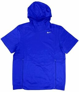 NIKE (TEAM AUTHENTIC) THERMA FIT S/S HOODED PULLOVER BLUE MENS SZ L NWT FAST⚡