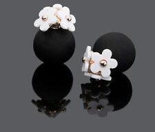CLASSY LADIES GIFT DESIGNER DOUBLE STUD EARINGS WHITE DAISY FLOWERS BLACK MATT