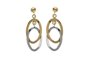 Solid Gold Drop Earrings Oval Drops 9 Carat Yellow and White Hallmarked