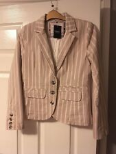 Next Tailored Pink and Beige Pinstriped Lined Blazer Size 14 Bnwt