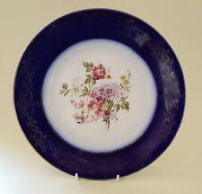 Ridgway cobalt blue rim vintage pre Victorian antique botanical wall plate