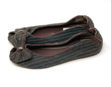Steve Madden Womens Flats Brown Teal Stripes Fabric Peep Toe Size 8 Bow