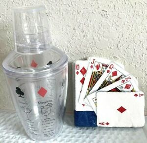 DOUBLE WALL HARD PLASTIC MARTINI SHAKER MATCHING PLAYING CARDS BEVERAGE NAPKINS