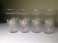 Vintage Set of 4 Tall Glass - Pfaltzgraff 14 oz GLASSWARE/Cooler TEA ROSE - EUC