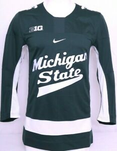 New Michigan State Spartan Green Embroidered Nike Authentic Hockey Jersey Men S
