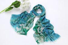100% Wool Scarf Digitally Printed Turquoise Theme Checks Print WO3007