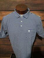 B.draddy Mens Large Blue White Striped Short Sleeve Golf Polo Shirt